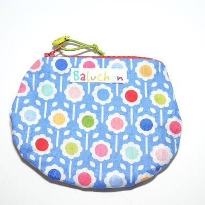 Sac mini cosmétique ou porte-monnaie bleu, petite fleur