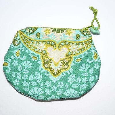 Sac mini cosmétique ou porte-monnaie indien vert, turquoise