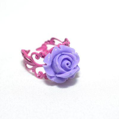 Bague junior fille rose lilas