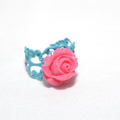 Bague junior fille rose turquoise