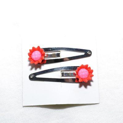 Barette clip tournesol rouge