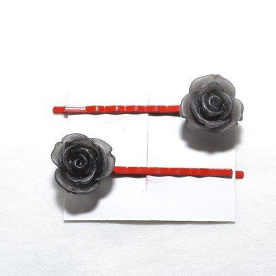 Pince à cheveux rose givrée gris