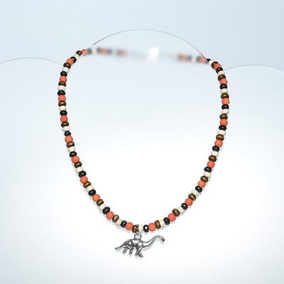 Collier enfant garçon orange, dinosaure