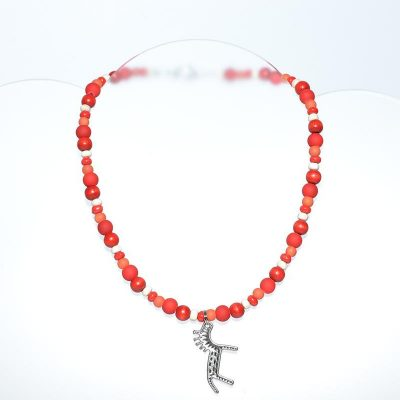 Collier enfant garçon rouge, orange, cheval