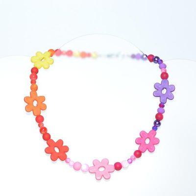 Collier enfant fille fleurs multicolores