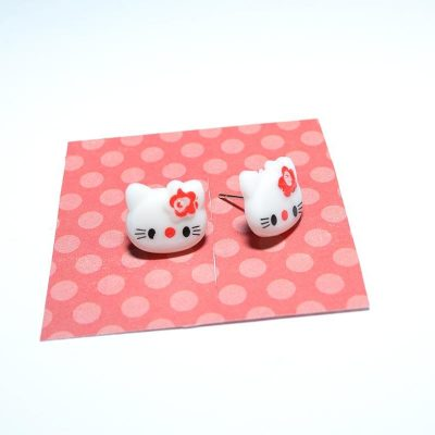 Boucle d'oreille enfant Hello Kitty blanc