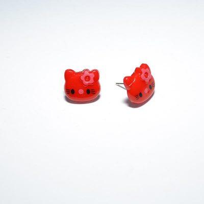 Boucle d'oreille enfant Hello Kitty rouge