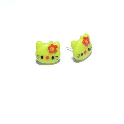 Boucle d'oreille enfant Hello Kitty vert