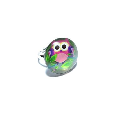 Bague junior fille hibou feuille