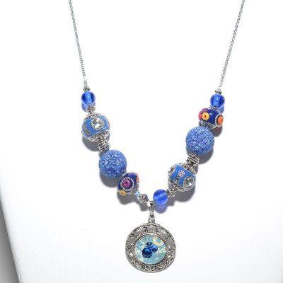 Collier dame bleu