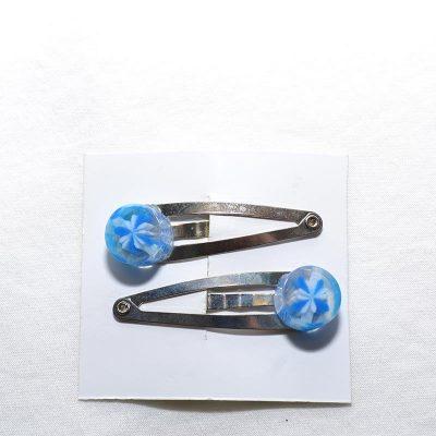 Barrette clip bonbon bleu