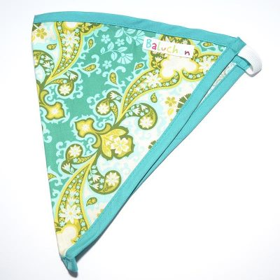Bandeau triangle cheveux indien vert, turquoise