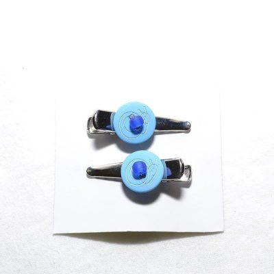 Barrette crocro escargot bleu