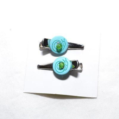 Barrette crocro escargot turquoise