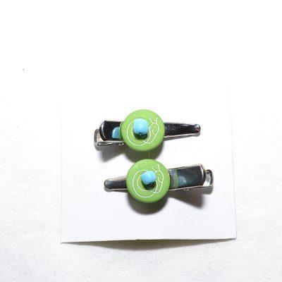 Barrette crocro escargot vert turquoise