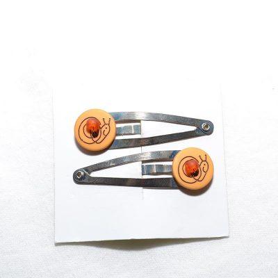 Barrette clip escargot orange