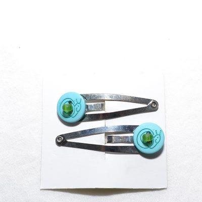 Barrette clip escargot turquoise