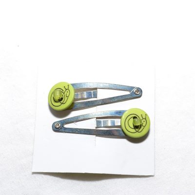 Barrette clip escargot vert foncé