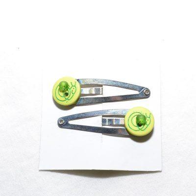 Barrette clip escargot vert lime