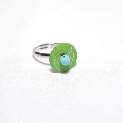 Bague enfant escargot vert turquoise