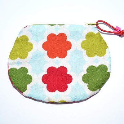 Sac mini cosmétique ou porte-monnaie fleurs rouge, vert