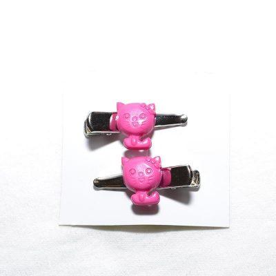 Barrette crocro petit chat rose