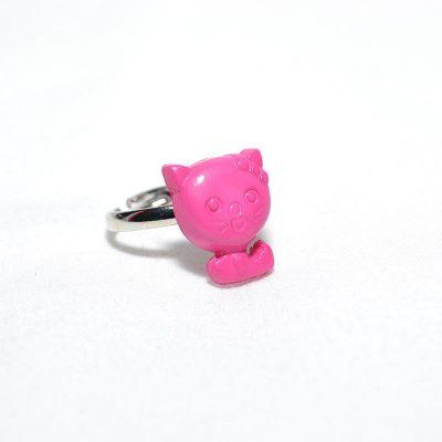 Bague enfant petit chat rose