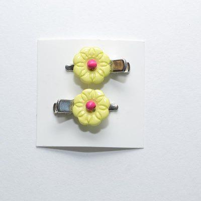 Barrette crocro fleur lime