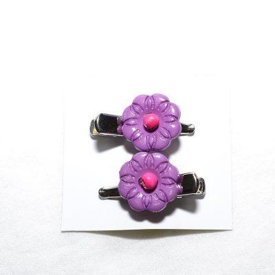 Barrette crocro fleur mauve