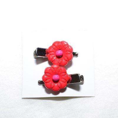 Barrette crocro fleur rouge