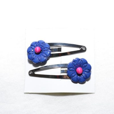 Barrette clip fleur bleu