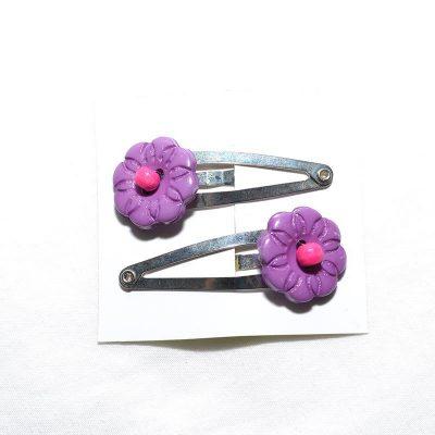 Barrette clip fleur mauve