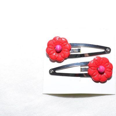Barrette clip fleur rouge