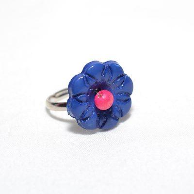 Bague enfant fleur bleu