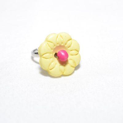 Bague enfant fleur jaune