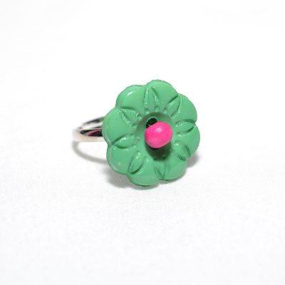 Bague enfant fleur vert
