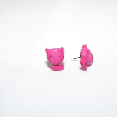 Boucle d'oreille petit chat rose