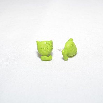 Boucle d'oreille petit chat vert