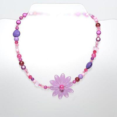 Collier enfant fille pendentif fleur mauve