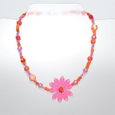 Collier enfant fille pendentif fleur orange