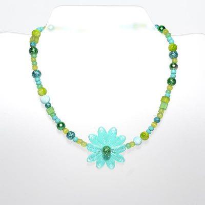 Collier enfant fille pendentif fleur turquoise
