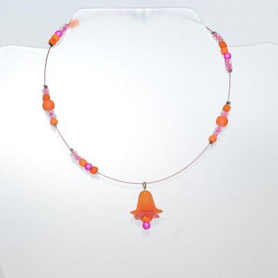 Collier enfant fille fleur clochette orange