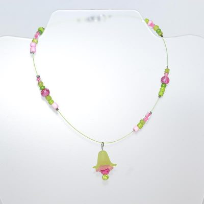 Collier enfant fille fleur clochette vert