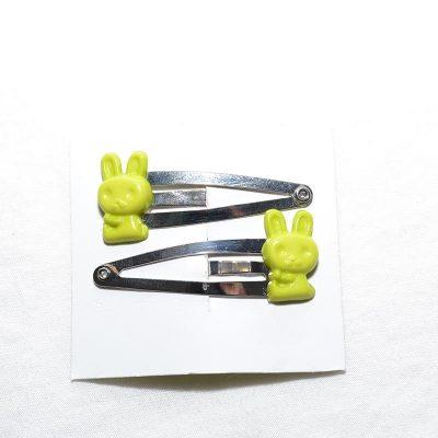 Barrette clip lapin vert