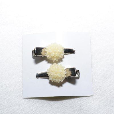 Barrette crocro fleur bouquet blanc