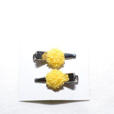 Barrette crocro fleur bouquet jaune