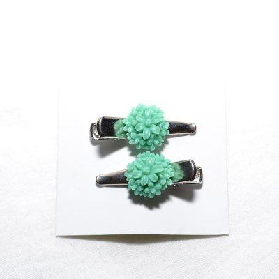 Barrette crocro fleur bouquet turquoise