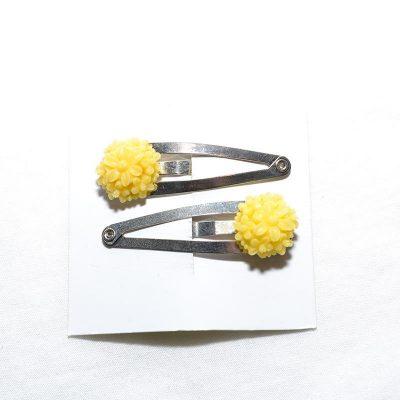 Barrette clip fleur bouquet jaune