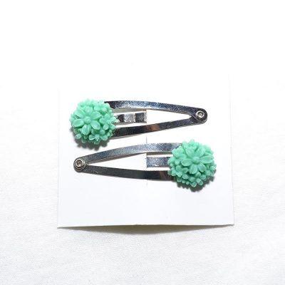 Barrette clip fleur bouquet turquoise