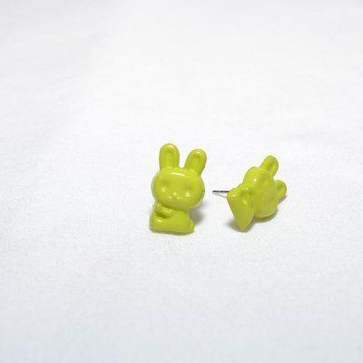 Boucle d'oreille enfant lapin vert